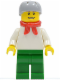 Minifig No: cty0156  Name: Plain White Torso with White Arms, Green Legs, Helmet and Scarf