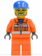 Minifig No: cty0158  Name: Sanitary Engineer 3 - Orange Legs, Glasses and Beard