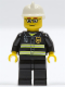 Minifig No: cty0164  Name: Fire - Reflective Stripes, Black Legs, White Fire Helmet, Glasses and Brown Thin Eyebrows