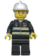 Minifig No: cty0164a  Name: Fire - Reflective Stripes, Black Legs, White Fire Helmet, Glasses and Red Thin Eyebrows