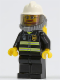 Minifig No: cty0165  Name: Fire - Reflective Stripes, Black Legs, White Fire Helmet, Breathing Neck Gear with Airtanks, Yellow Hands, Beard and Glasses