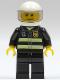 Minifig No: cty0166  Name: Fire - Reflective Stripes, Black Legs, White Standard Helmet, Trans-Black Visor, Stubble Beard and Moustache, Smirk and Stubble Beard
