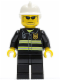 Minifig No: cty0167  Name: Fire - Reflective Stripes, Black Legs, White Fire Helmet, Black Sunglasses and Stubble