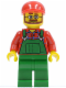 Minifig No: cty0170  Name: Overalls Farmer Green, Red Short Bill Cap, Beard and Glasses