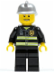 Minifig No: cty0173  Name: Fire - Reflective Stripes, Black Legs, Silver Fire Helmet, Thin Grin with Teeth