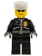 Minifig No: cty0174  Name: Police - City Leather Jacket with Gold Badge, White Hat, Dark Blue Sunglasses