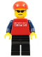 Minifig No: cty0175  Name: Red Shirt with 3 Silver Logos, Dark Blue Arms, Black Legs, Red Short Bill Cap, Glasses