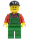 Minifig No: cty0176  Name: Overalls Farmer Green, Black Short Bill Cap