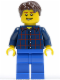 Minifig No: cty0177  Name: Plaid Button Shirt, Blue Legs, Dark Brown Short Tousled Hair