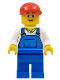 Minifig No: cty0178  Name: Overalls Blue over V-Neck Shirt, Blue Legs, Red Short Bill Cap, Glasses