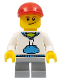 Minifig No: cty0184  Name: White Hoodie with Blue Pockets, Light Bluish Gray Short Legs, Red Short Bill Cap