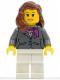 Minifig No: cty0187  Name: Dark Bluish Gray Jacket with Magenta Scarf, White Legs, Reddish Brown Female Hair over Shoulder