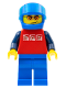 Minifig No: cty0196  Name: Red Shirt with 3 Silver Logos, Dark Blue Arms, Blue Legs, Blue Helmet, Orange Sunglasses