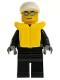 Minifig No: cty0197  Name: Police - City Leather Jacket with Gold Badge, White Short Bill Cap, Silver Sunglasses, Life Jacket