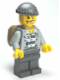 Minifig No: cty0201  Name: Police - Jail Prisoner Jacket over Prison Stripes, Dark Bluish Gray Legs, Dark Bluish Gray Knit Cap, Gold Tooth, Backpack