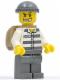 Minifig No: cty0203  Name: Police - Jail Prisoner 50380 Prison Stripes, Dark Bluish Gray Legs, Dark Bluish Gray Knit Cap, Gold Tooth, Backpack