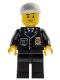 Minifig No: cty0204  Name: Police - City Suit with Blue Tie and Badge, Black Legs, White Short Bill Cap, Smirk and Stubble Beard
