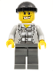 Minifig No: cty0206  Name: Police - Jail Prisoner Jacket over Prison Stripes, Dark Bluish Gray Legs, Black Knit Cap, Gold Tooth