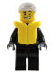 Minifig No: cty0207  Name: Police - City Leather Jacket with Gold Badge and 'POLICE' on Back, White Short Bill Cap, Life Jacket