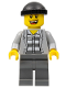 Minifig No: cty0208  Name: Police - Jail Prisoner Jacket over Prison Stripes, Dark Bluish Gray Legs, Black Knit Cap, Missing Tooth