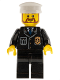 Minifig No: cty0209  Name: Police - City Suit with Blue Tie and Badge, Black Legs, White Hat, Brown Beard Rounded
