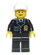 Minifig No: cty0210  Name: Police - City Suit with Blue Tie and Badge, Black Legs, White Short Bill Cap, Open Grin