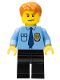 Minifig No: cty0212  Name: Police - City Shirt with Dark Blue Tie and Gold Badge, Black Legs, Dark Orange Short Tousled Hair
