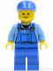 Minifig No: cty0213  Name: Overalls with Tools in Pocket Blue, Blue Cap, Standard Grin