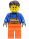 Minifig No: cty0215  Name: Overalls with Safety Stripe Orange, Orange Legs, Dark Brown Tousled Hair, Open Grin and Freckles