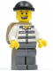Minifig No: cty0217  Name: Police - Jail Prisoner 50380 Prison Stripes, Dark Bluish Gray Legs, Black Knit Cap, Missing Tooth, Backpack