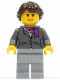 Minifig No: cty0220  Name: Dark Bluish Gray Jacket with Magenta Scarf, Light Bluish Gray Legs, Dark Brown Hair Ponytail Long French Braided, Brown Eyebrows