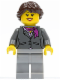 Minifig No: cty0220a  Name: Dark Bluish Gray Jacket with Magenta Scarf, Light Bluish Gray Legs, Dark Brown Hair Ponytail Long French Braided, Black Eyebrows