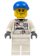Minifig No: cty0221  Name: Spacesuit, White Legs, Blue Short Bill Cap, Brown Eyebrows