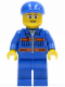 Minifig No: cty0224  Name: Blue Jacket with Pockets and Orange Stripes, Blue Legs, Blue Short Bill Cap, Glasses, Open Smile
