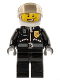 Minifig No: cty0228  Name: Police - City Leather Jacket with Gold Badge and 'POLICE' on Back, White Helmet, Trans-Black Visor