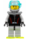 Minifig No: cty0235  Name: Diver, Flippers, Stubble Beard and Moustache and Sideburns, Scuba Tank