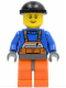 Minifig No: cty0238  Name: Overalls with Safety Stripe Orange, Orange Legs and Dark Bluish Gray Hips, Black Knit Cap