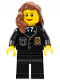 Minifig No: cty0241  Name: Police - City Suit with Blue Tie and Badge, Black Legs, Reddish Brown Female Hair over Shoulder