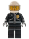 Minifig No: cty0242  Name: Police - City Leather Jacket with Gold Badge, White Helmet, Trans-Black Visor, Black Eyebrows