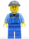 Minifig No: cty0247  Name: Overalls with Tools in Pocket Blue, Dark Bluish Gray Knit Cap