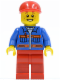 Minifig No: cty0248  Name: Blue Jacket with Pockets and Orange Stripes, Red Legs, Red Short Bill Cap