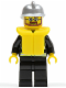 Minifig No: cty0251  Name: Fire - Reflective Stripes, Black Legs, Silver Fire Helmet, Beard and Glasses, Life Jacket