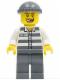 Minifig No: cty0253  Name: Police - Jail Prisoner 50380 Prison Stripes, Dark Bluish Gray Legs, Dark Bluish Gray Knit Cap, Missing Tooth
