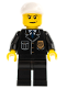 Minifig No: cty0255  Name: Police - City Suit with Blue Tie and Badge, Black Legs, White Short Bill Cap, Scowl