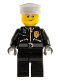 Minifig No: cty0256  Name: Police - City Leather Jacket with Gold Badge and 'POLICE' on Back, White Hat, Lopsided Smile