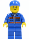 Minifig No: cty0258  Name: Blue Jacket with Pockets and Orange Stripes, Blue Legs, Blue Short Bill Cap, Crooked Smile