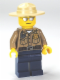 Minifig No: cty0260  Name: Forest Police - Dark Tan Shirt with Pockets, Radio and Gold Badge, Dark Blue Legs, Campaign Hat, Silver Sunglasses