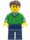 Minifig No: cty0261  Name: Green V-Neck Sweater, Dark Blue Legs, Dark Brown Short Tousled Hair, Smirk and Stubble Beard