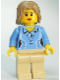 Minifig No: cty0262  Name: Medium Blue Female Shirt with Two Buttons and Shell Pendant, Tan Legs, Dark Tan Mid-Length Tousled Hair