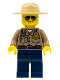 Minifig No: cty0264  Name: Forest Police - Dark Tan Shirt with Pockets, Radio and Gold Badge, Dark Blue Legs, Campaign Hat, Black and Silver Sunglasses